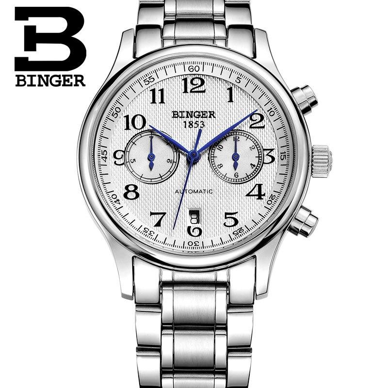 Marca de Luxo Relógios dos Esportes da Forma Genuine Binger Homens Self-vento Mecânico Automático Sapphire Mesa Masculino Aço Inoxidável 5- Pin
