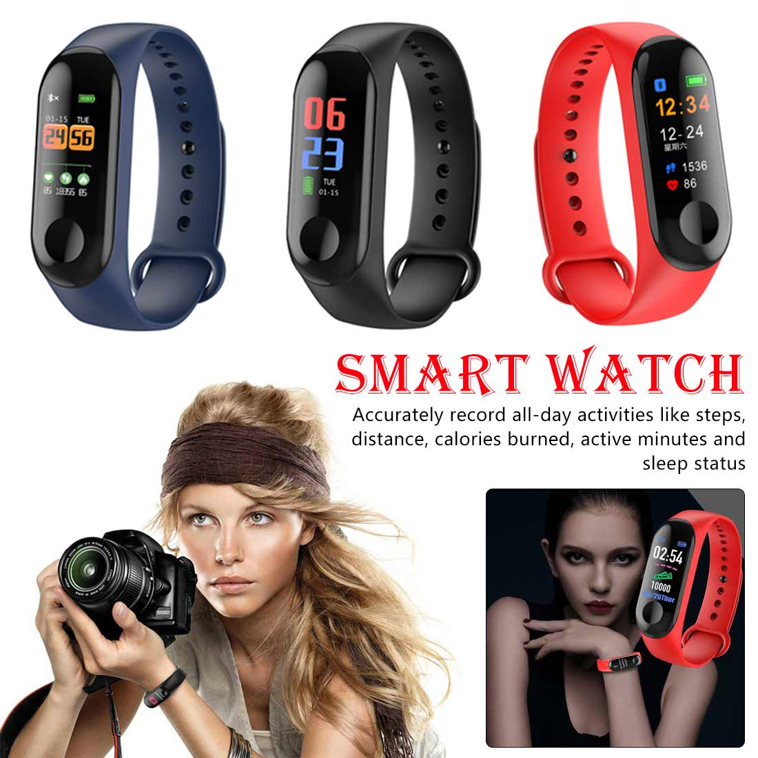 New Electronics Smart Clock GPS positioning Color screen smart bracelet heart rate sleep  calorie call reminder Waterproof