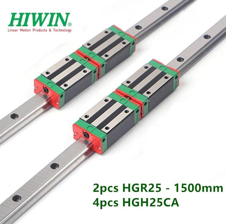 2 uds 100% original HIWIN guía lineal HGR25 - 1500mm carril + 4 Uds HGH25CA carruaje estrecho rodamientos de bloque de pieza cnc