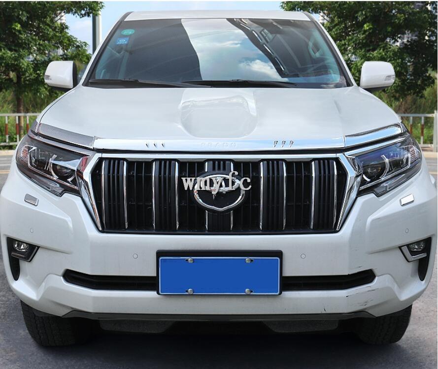 ABS Chrome Front Bumper Grille Hood Engine+ Headlight Light Cover Trims For TOYOTA LAND CRUISER PRADO 150 FJ150 2018 2019