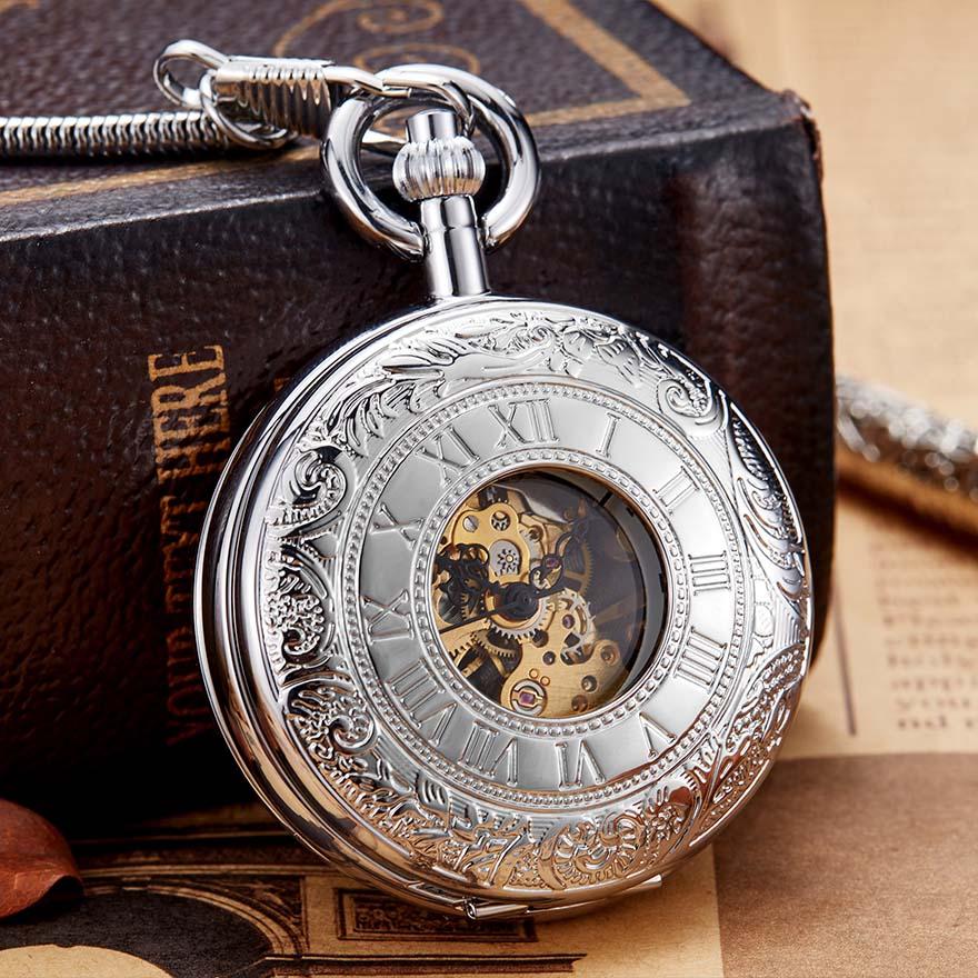 Luxury Sliver Color Mechanical Pocket Watch Men Women Clock Skeleton Gear Dial Gold Antique Flip Case Copper FOB Chain Watches