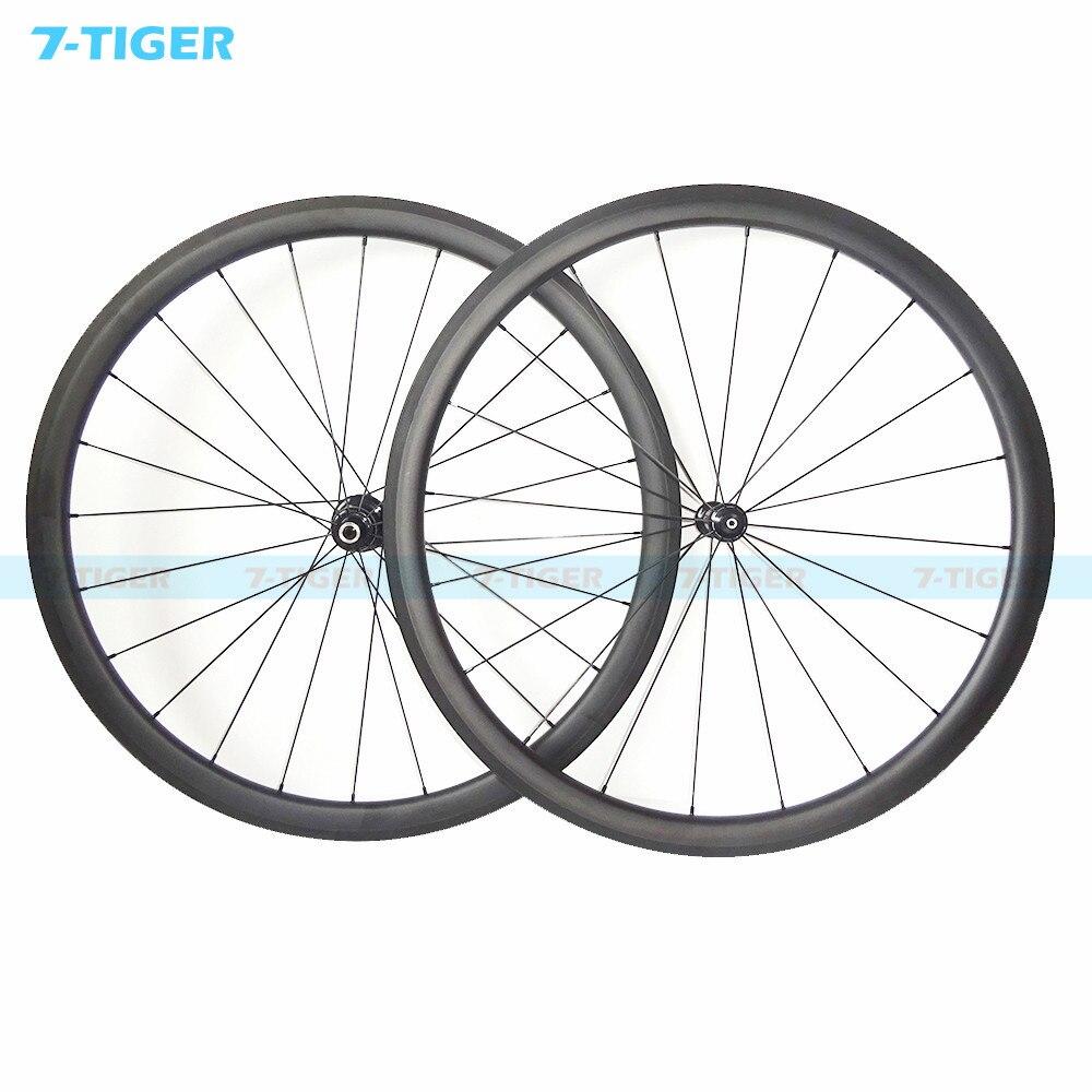 7-tiger carbon wheels 38mm wide 23 mm 700C road bike carbon wheel black pillar spokes and nipples hub R36 carbon wheelset