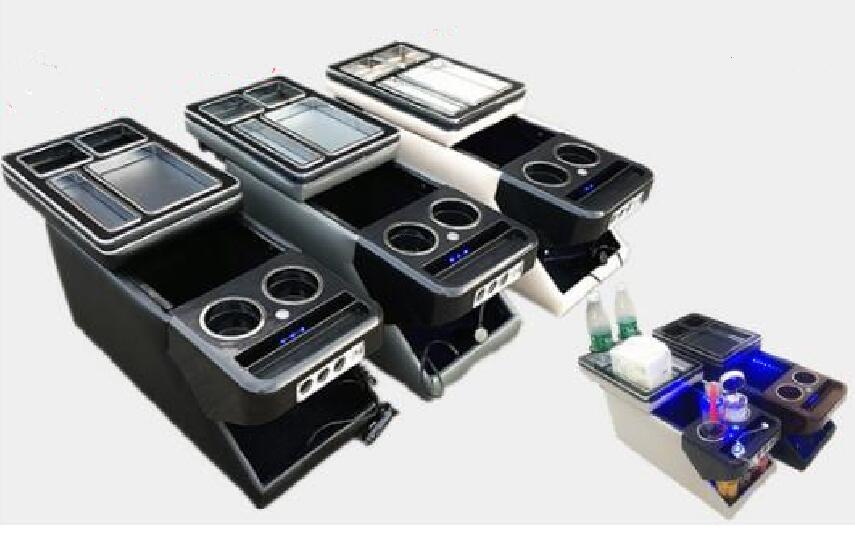 Caja de consola de coche multifuncional, caja de almacenamiento de apoyabrazos con USB, portavasos, luces de ambiente para Honda Odyssey 2015-2018,Buick GL8