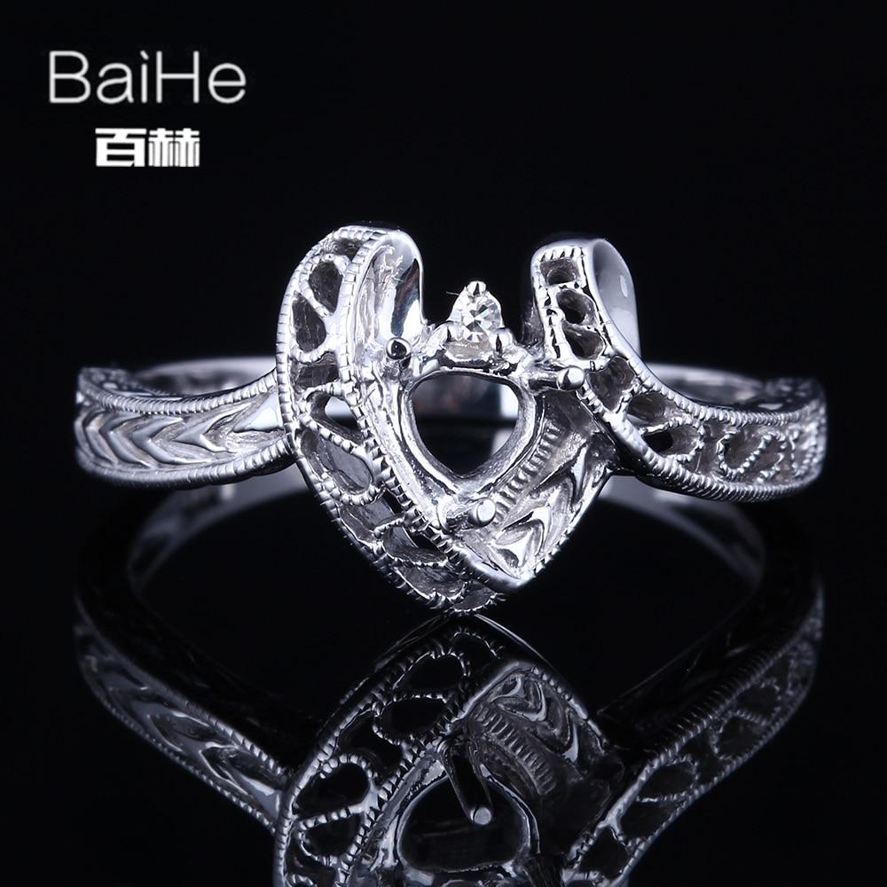 BAIHE sólido 14K oro blanco certificado corte Trillion compromiso mujeres lindo/elegante romántico joyería elegante único anillo semimontado