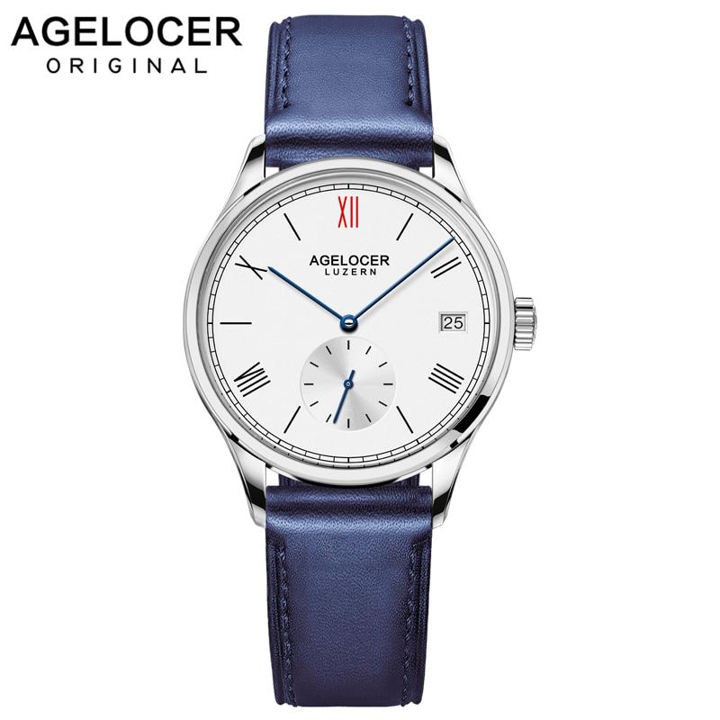 Agelocer Brand Swiss Automatic Watch Women Leather Bracelet Date Ladies Wristwatch Black Mechanical Watch Clock Reloj Mujer