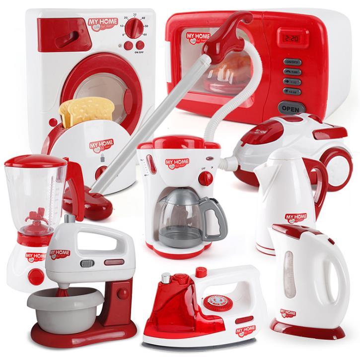 Miniature Kitchen toys Plastic Pretend Play kitchen appliance Children Toys With Music Light Kids Kitchen Cooking Toy