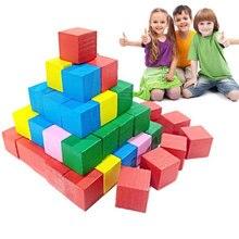 2cm crianças crianças blocos de construção de madeira quadrado matemática ferramenta de ensino brinquedo colorido s7jn