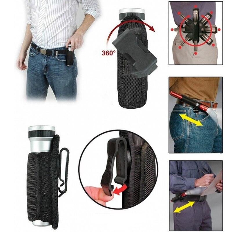 Cqc 360 graus clipe rotativo tático molle lanterna bolsa coldre caso capa tocha titular caça iluminação acessórios