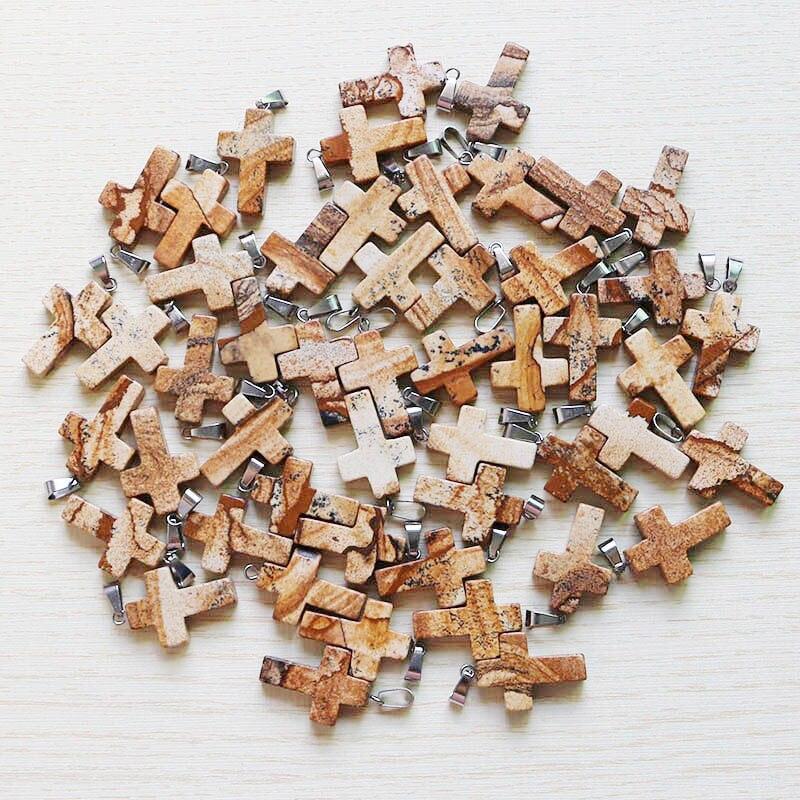 Imagen natural cruz de piedra dijes de cuentas colgantes para DIY collar fabricación de joyería al por mayor 30 unids/lote envío gratis