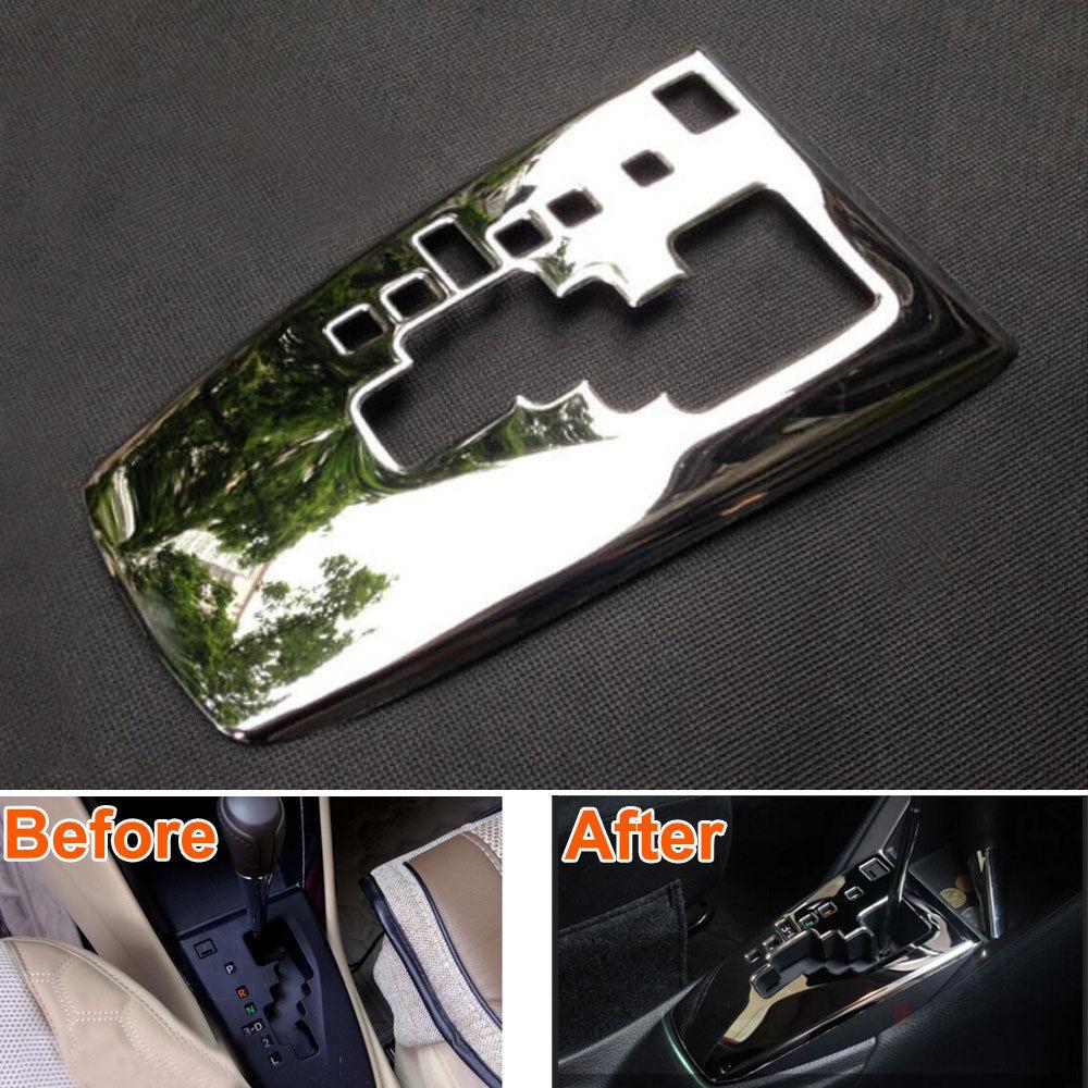 1x aço inoxidável interior do carro caixa de mudança de engrenagem painel placa quadro capa decoração guarnição estilo adesivo apto para toyota yaris 2014