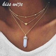 KISSWIFE 2017, новая мода, золотой цвет, 3 слоя, опал, розовый камень, ожерелье, сердце с множеством камней, ожерелья для женщин, ювелирное изделие, подарок