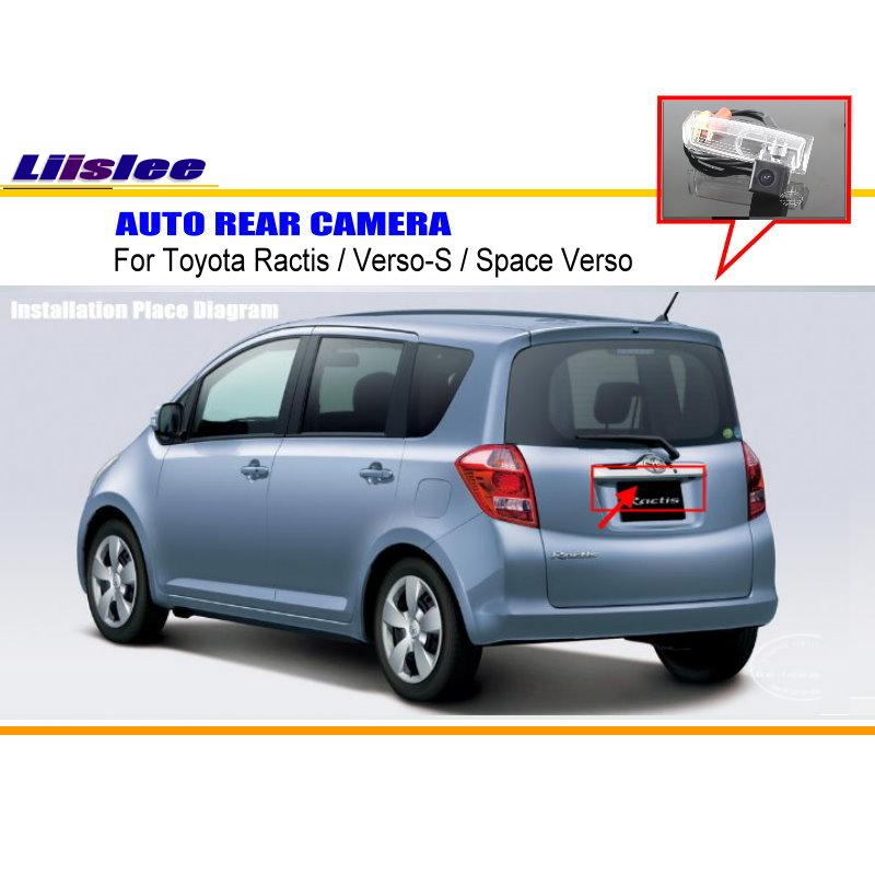 Liislee para Toyota Ractis/verso-s/Space Verso cámara de visión trasera/cámara de estacionamiento de respaldo/NTST PAL/lámpara de placa de matrícula OEM