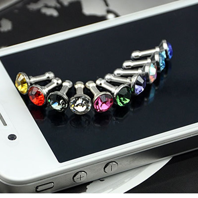 100PCS Universal 3,5mm Diamant Staub Stecker Handy zubehör Gadgets Kopfhörer Stecker Glänzende Bling Cap Stopper