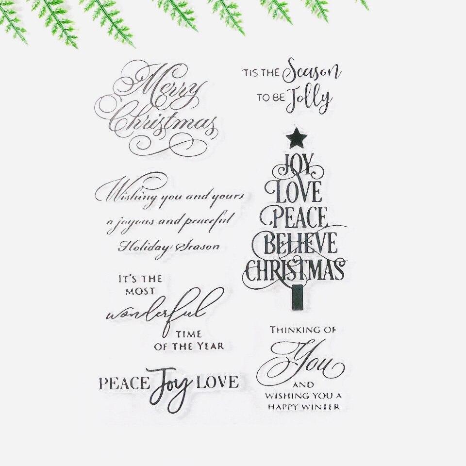 Новое поступление открытка с рождественской елкой изготовление прозрачный значок печать для DIY Скрапбукинг фото украшение для альбома шта...