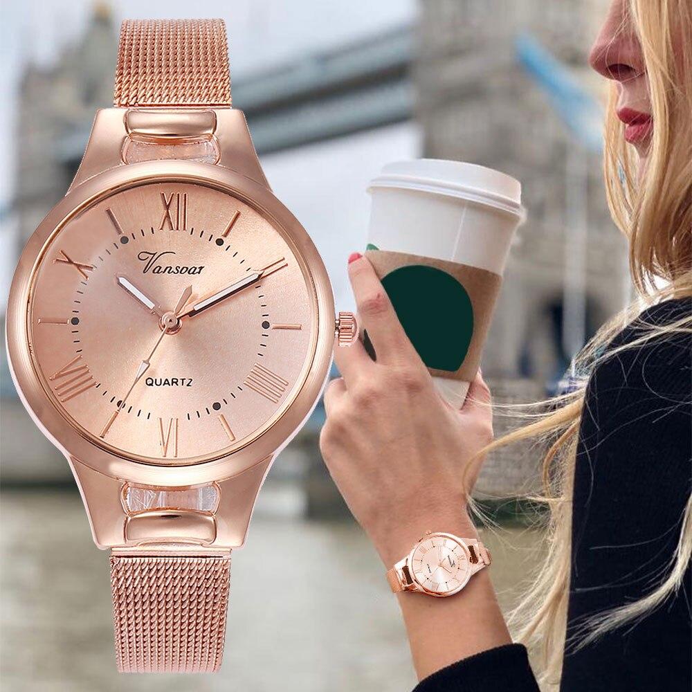 Reloj Vansvar de marca superior para mujer reloj de pulsera de cuarzo de acero inoxidable Newv reloj de pulsera analógico montre pulsera de mujer # N03