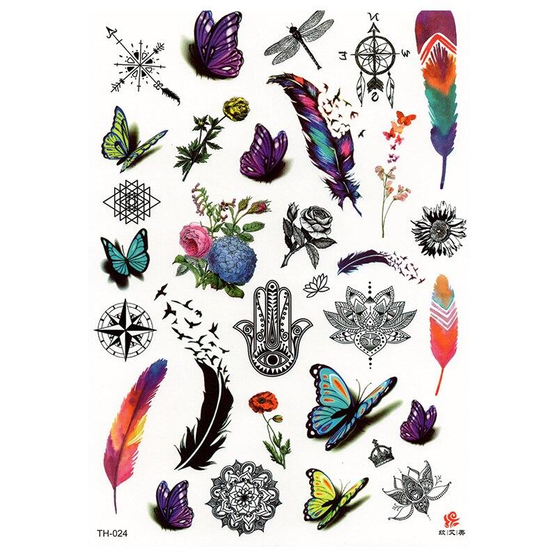 Hot Design Temporary Tattoo for Adult Waterproof Tatoo Sticker Body Art Specimen Butterfly TH024 Fake Tattoo Man Woman