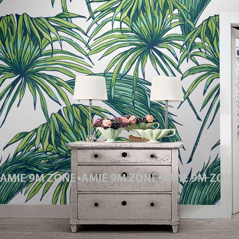 Tuya arte papel pintado de cocina hoja de palma acabado mate hojas verdes papel tapiz decoración de pared en sala de estar