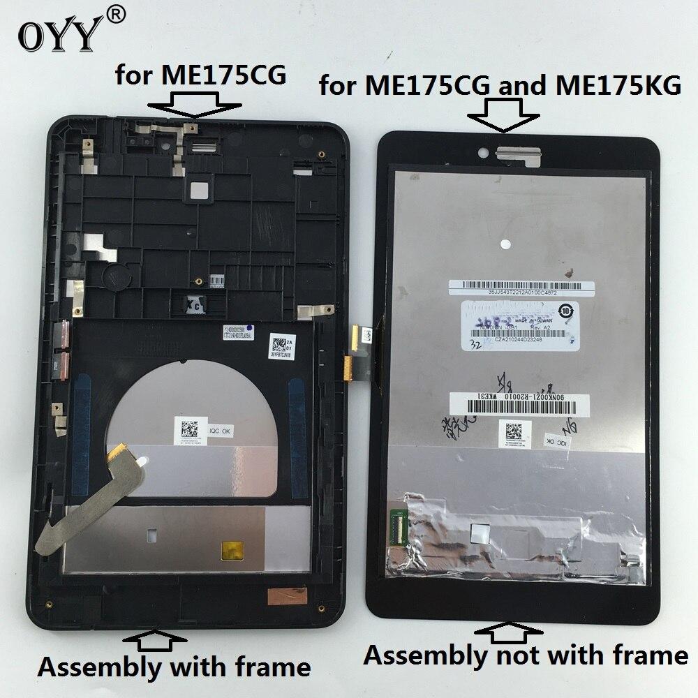 Pantalla táctil capacitiva LCD pantalla digitalizador montaje de cristal con marco para Asus Fonepad 7 Memo HD 7 ME175 ME175CG K00Z
