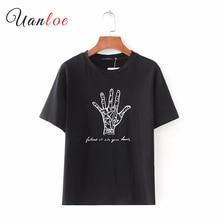 women cute letters palm print T shirt short sleeve o neck white black tees ladies elegant chic tops camisetas