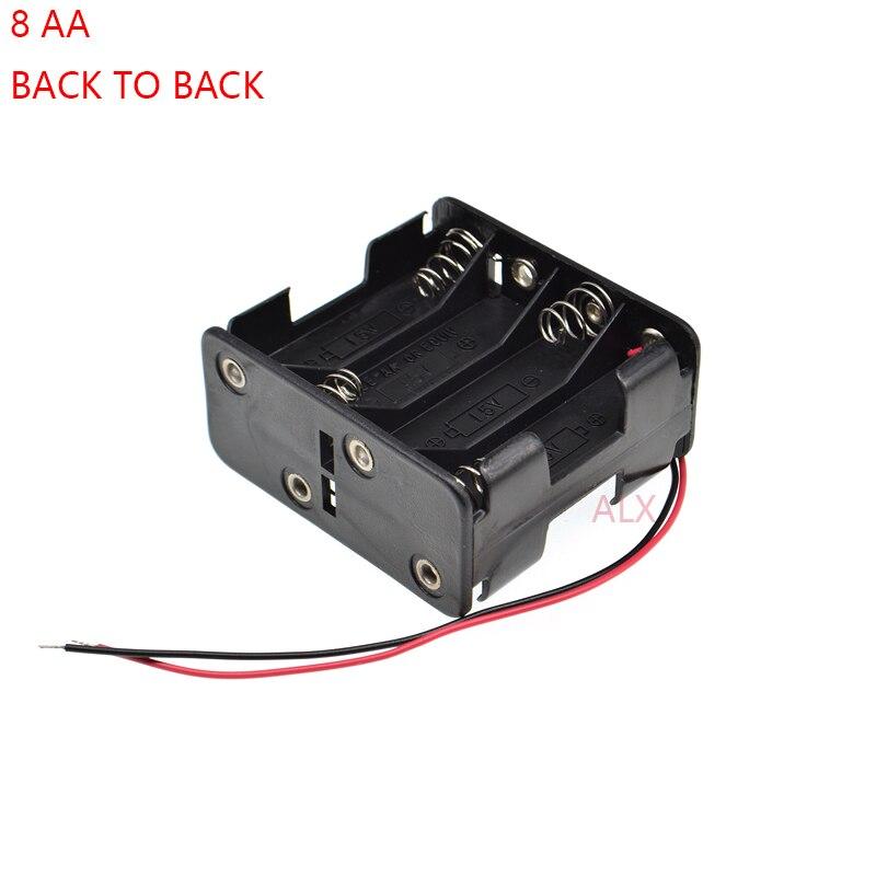 1 PCS 8 AA suporte da bateria de volta para trás com chumbo fio 12 V 4AA 8x1.5 v bateria caixa De Armazenamento caso 8 slot para AA Bateria Shell 8XAA 8 X AA