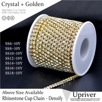 upriver golden base densify claw bright glass crystal ab rhinestone cup chain 10yardsroll for clothing accessories