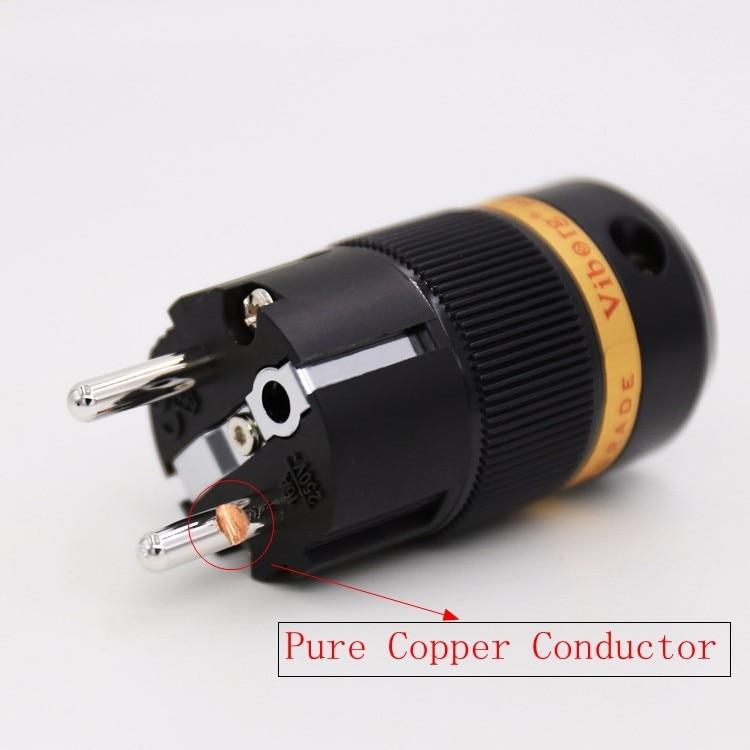 1 Stück Viborg VE501R Reinem kupfer Rhodiniert Schuko Male Power Steckverbinder Audio Stecker HIFI Netzstecker