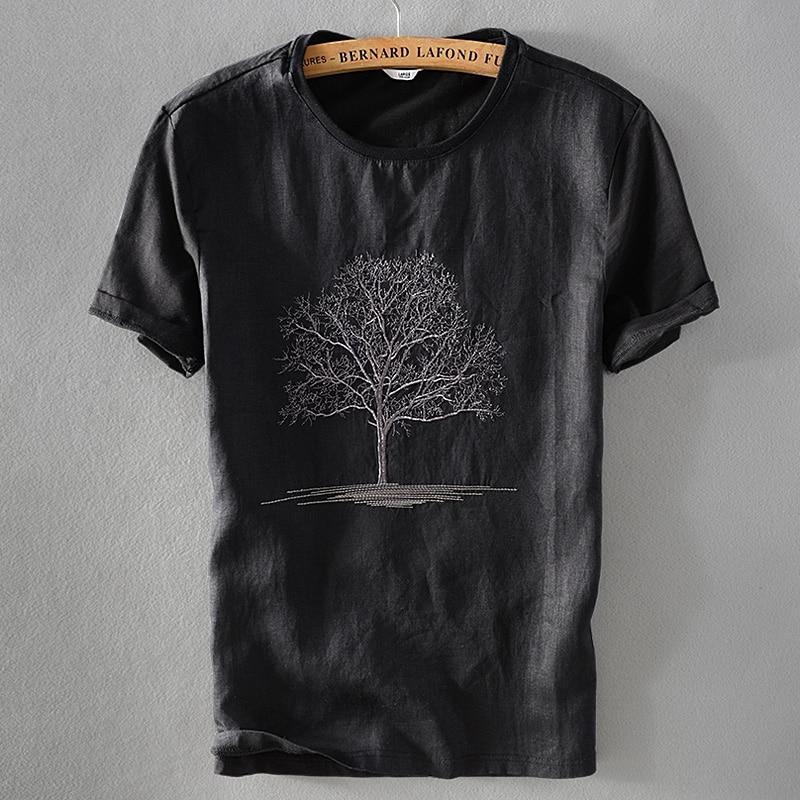 تي شيرت صيفي كتان أسود للرجال ، قميص رجالي برقبة دائرية ، تطريز كتان بأكمام قصيرة ، قميص غير رسمي ، مجموعة جديدة 2018