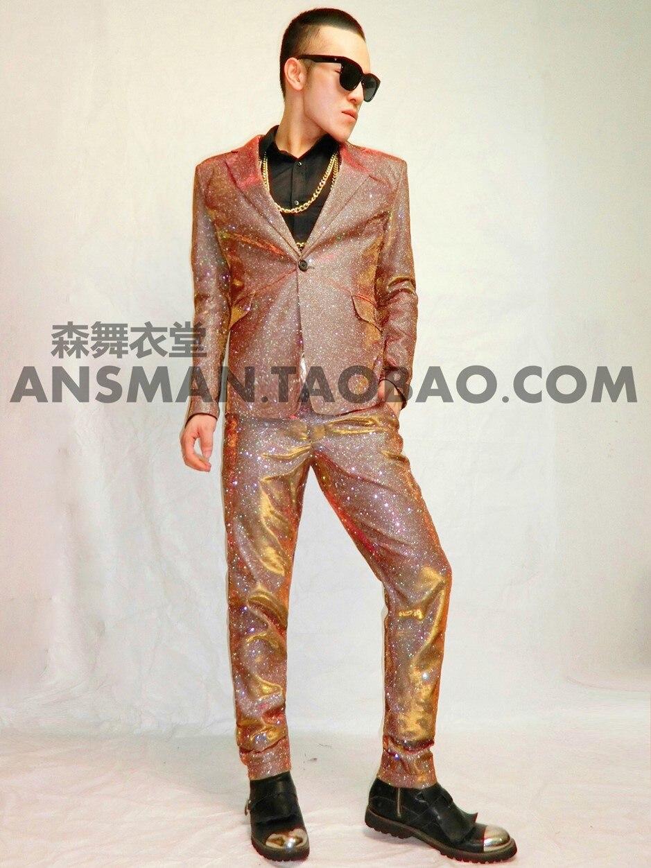 بدلات رجالية ، نحيفة ، ذهبية ، شامبانيا ، ملابس مسرح ، ملابس سهرة ، عرض