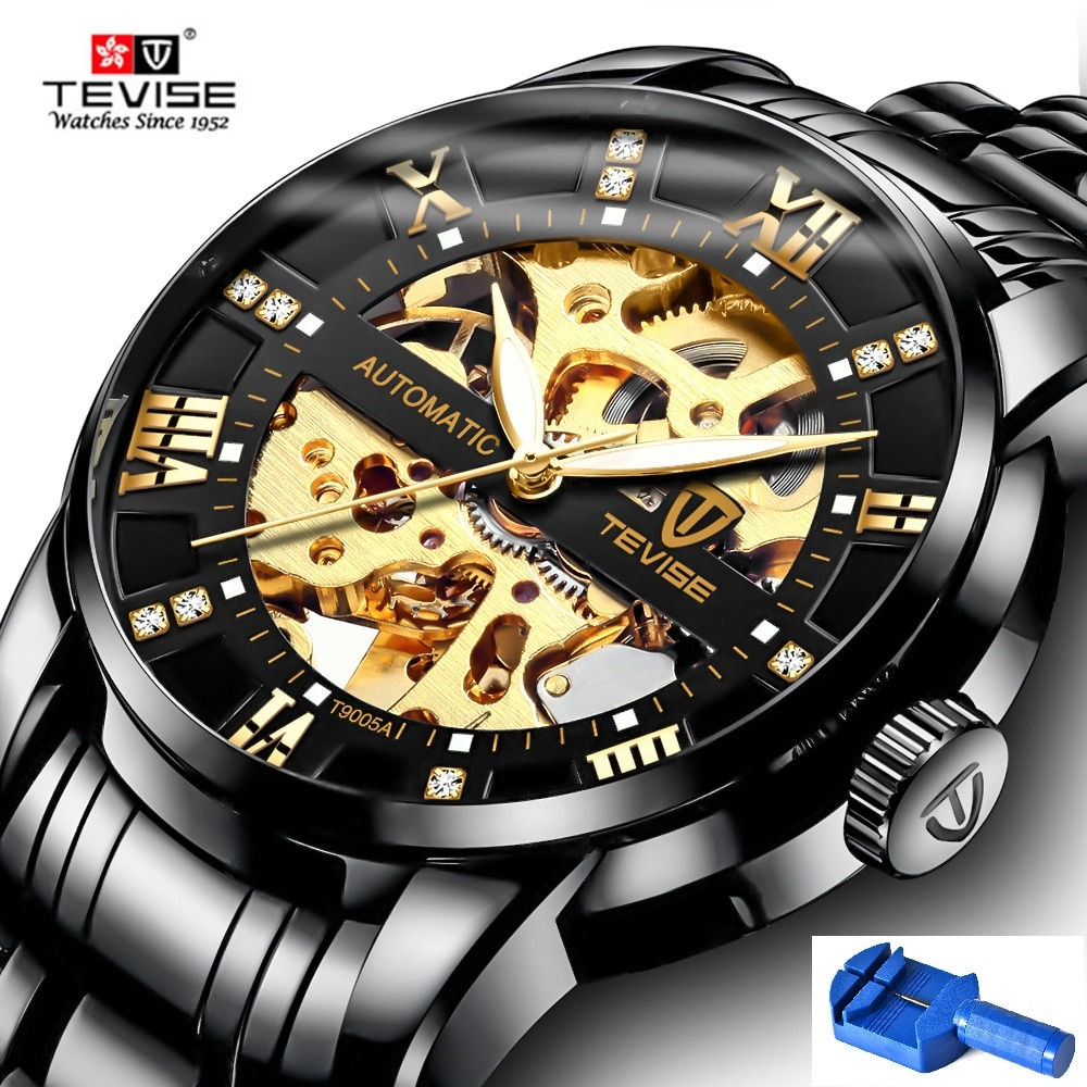 Automatic Skeleton Watches TEVISE T9005A Diamond Scale Luminous Hands Men Watch Mechanical Male Cloc