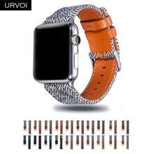 Urvoi 캔버스 밴드 apple watch series 5 4 3 2 1 iwatch houndstooth 패턴 용 손목 진 스트랩 클래식 디자인 가죽 백