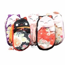 M295 귀여운 행운의 고양이 다양한 이미지 지퍼 실크 펜 제로 지갑 천으로 동전 지갑 캔버스 가방 수제 여성 학생 선물