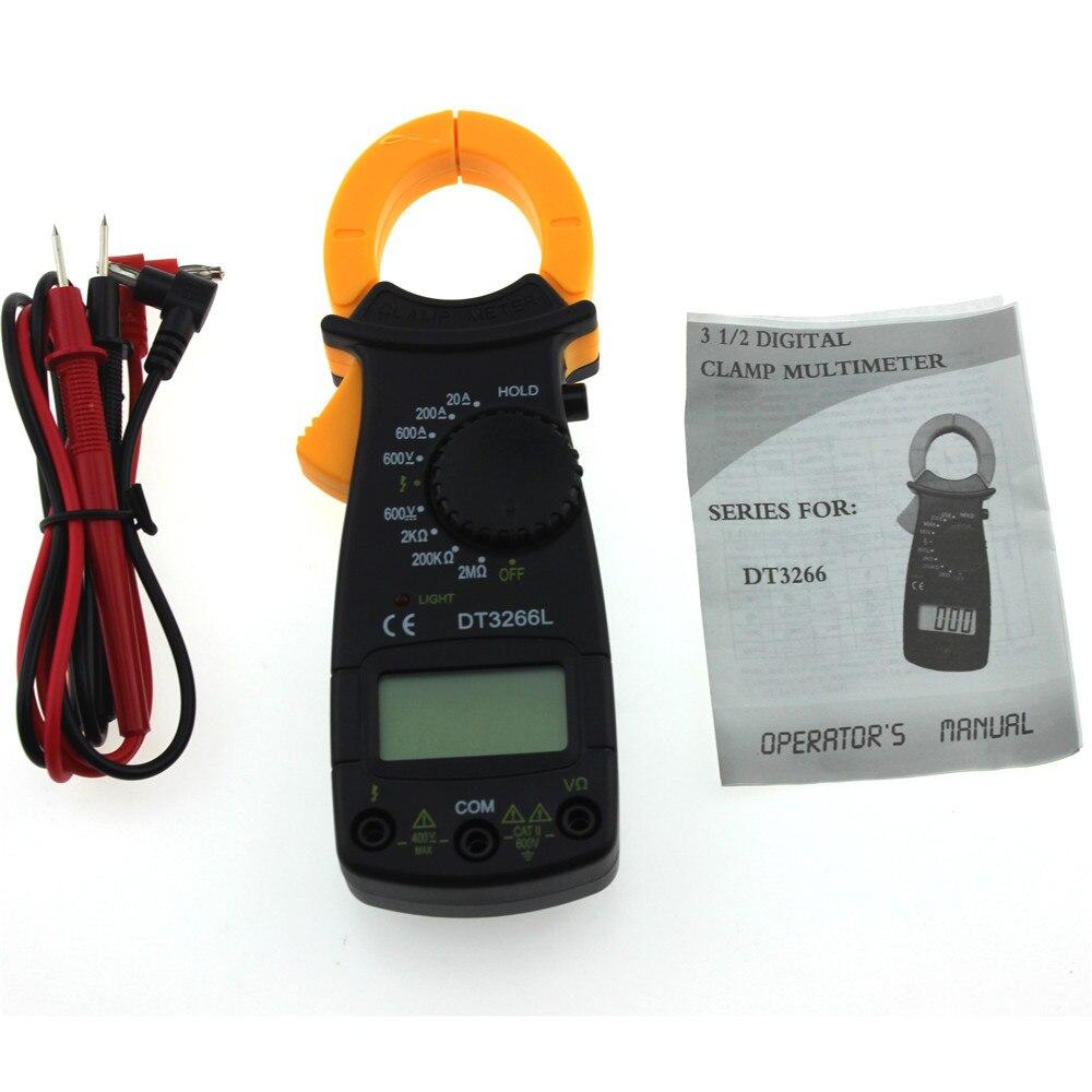 Multímetro de medidor de pinza Digital portátil DT3266L AC/DC multímetro de voltaje probador de resistencia de corriente con prueba de plomo