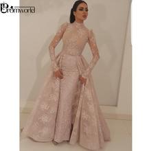 Noche musulmán vestido 2019 nuevo Collar alto sirena ilusión de encaje de manga larga Dubai saudí árabe largo vestido de noche vestido de fiesta