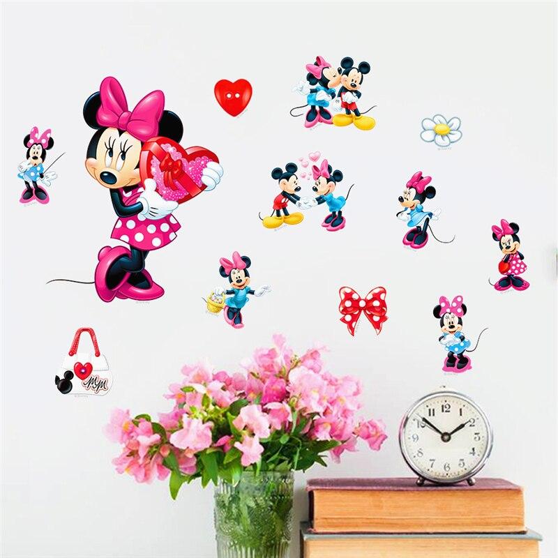 Декоративные наклейки на стену с изображением Микки Мауса для детской комнаты DIY подарки Декор для стен хо