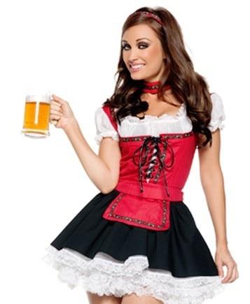 ¡Envío gratis! traje Sexy de chica de jardín de cerveza alemana Oktoberfest bávaro China traje de Oktoberfest S M L XL
