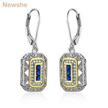 Newshe solide 925 en argent Sterling balancent boucles doreilles goutte bleu CZ blanc et or couleur classique bijoux pour femmes JE1581