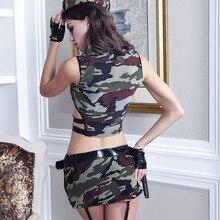 Sexy jeu de rôle militaire hauts et jupe Camouflage mascarade fantaisie tenues Halloween femmes armée Costume uniforme soldat Cosplay