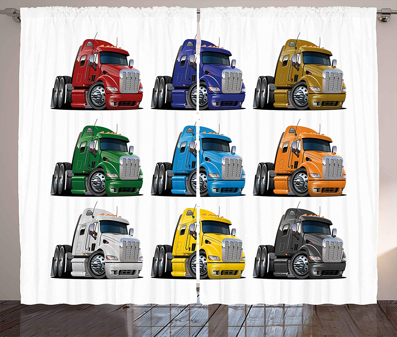 Cortinas de camiones, semirucks coloridos, transporte de mercancías, envío temático, diseño de dibujos animados para conducir, sala de estar, dormitorio, ventana