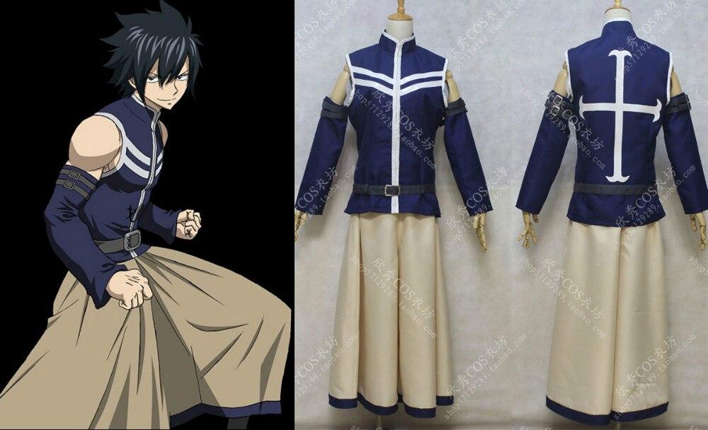Cauda de fadas cosplay roupas cinza fullbuster cosplay traje
