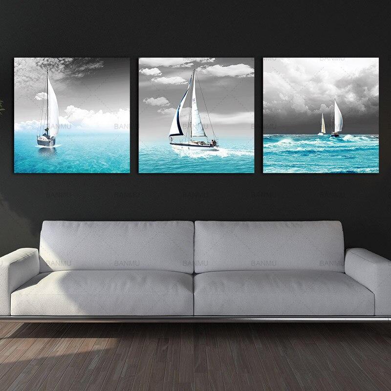 Pintura en lienzo, cuadro artístico para pared, decoración para el hogar, gran tamaño, velero, barco, vela, mar azul, lienzo impreso, pintura moderna para pared