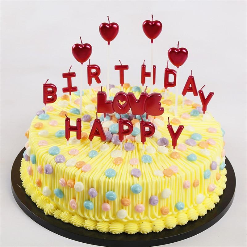1 Uds. De velas de letras Happy Birthday, velas de pastel rojo de plata y oro rosa para fiesta de cumpleaños para decoración de pasteles, regalo DIY