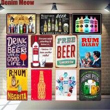 Freies Bier Morgen Zinn Zeichen Kalten Rum Wein Vintage Bar Pub Küche Zu Hause Wand Dekoration Retro Kunst Poster Platte Eisen plaque A849