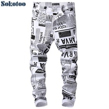 Sokotoo Men's fashion white paper printed jeans Slim fit black painted stretch denim pans