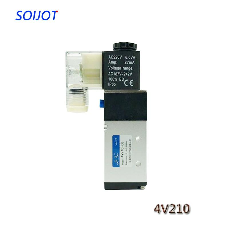 1pcs 5 Way 2 Position Electric Solenoid Valve 4V210-06 4V210-08 DC12V DC24V AC110V AC220V Pneumatic Control Valve