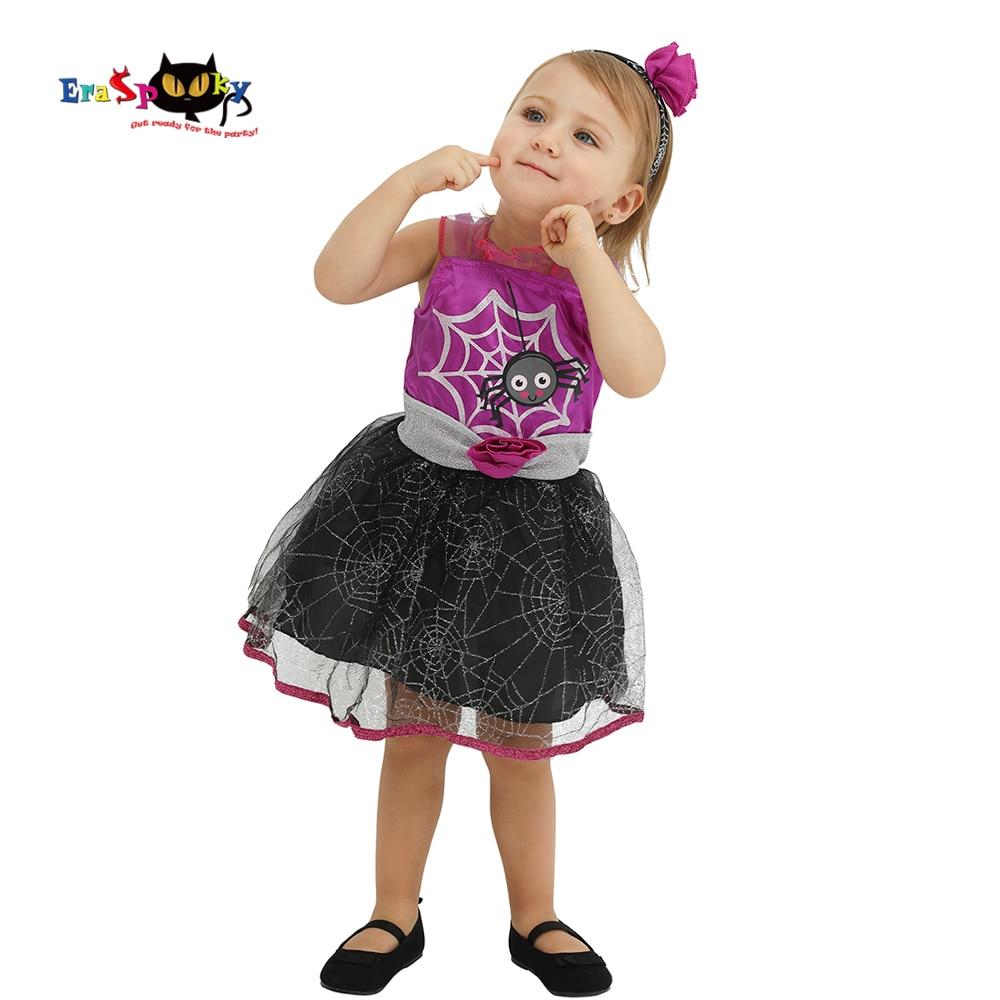 Eraspooky, vestido de fiesta de carnaval, traje de Halloween de tela de araña púrpura de dibujos animados para niñas, vestidos de tutú infantil de encaje, vestido de fantasía
