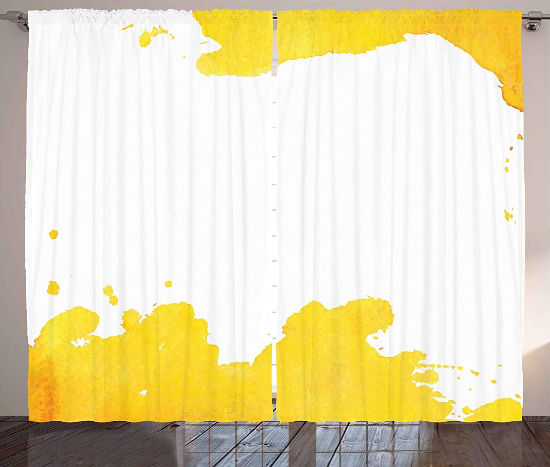 Cortinas amarillas Vintage fondo blanco con manchas de acuarela Grunge diseño artístico salón dormitorio ventana Drap