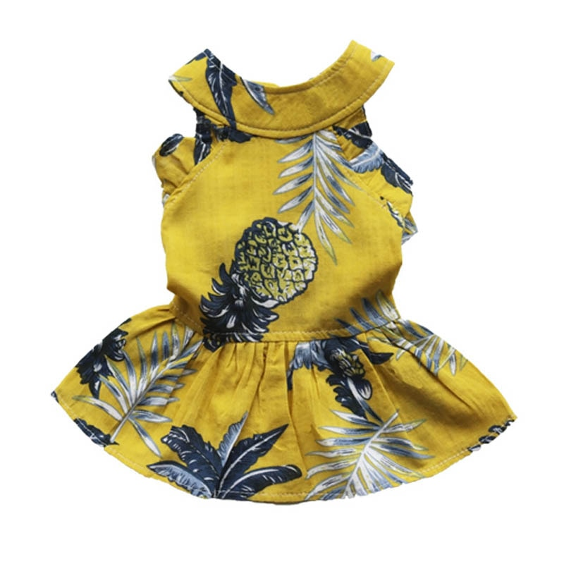 Платье для собак с ананасом, одежда для домашних питомцев, рубашки для кошки, высокое качество, платье-пачка, одежда желтого цвета для малень...