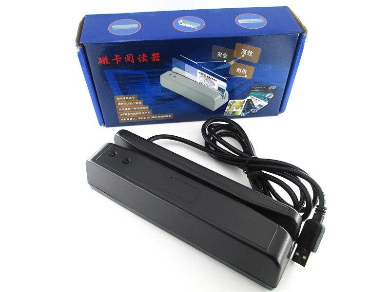 Lector de código de barras de tarjeta magnética Universal USB banda bidireccional pista 2 colores blanco y negro