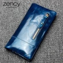 Zency luxe marron femmes longue sac à main 100% en cuir véritable poche plus porte-cartes de haute qualité Standard portefeuille bleu violet