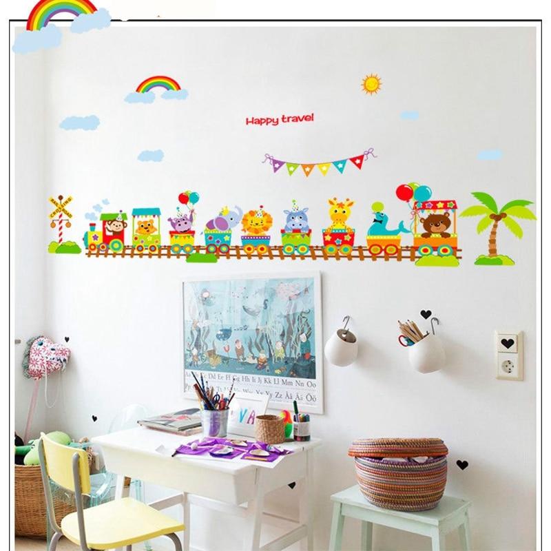 Animal en tren de dibujos animados habitación de bebé pegatinas de pared decoración Hogar niños Pared de habitación pegatinas póster 60x90cm CP0418